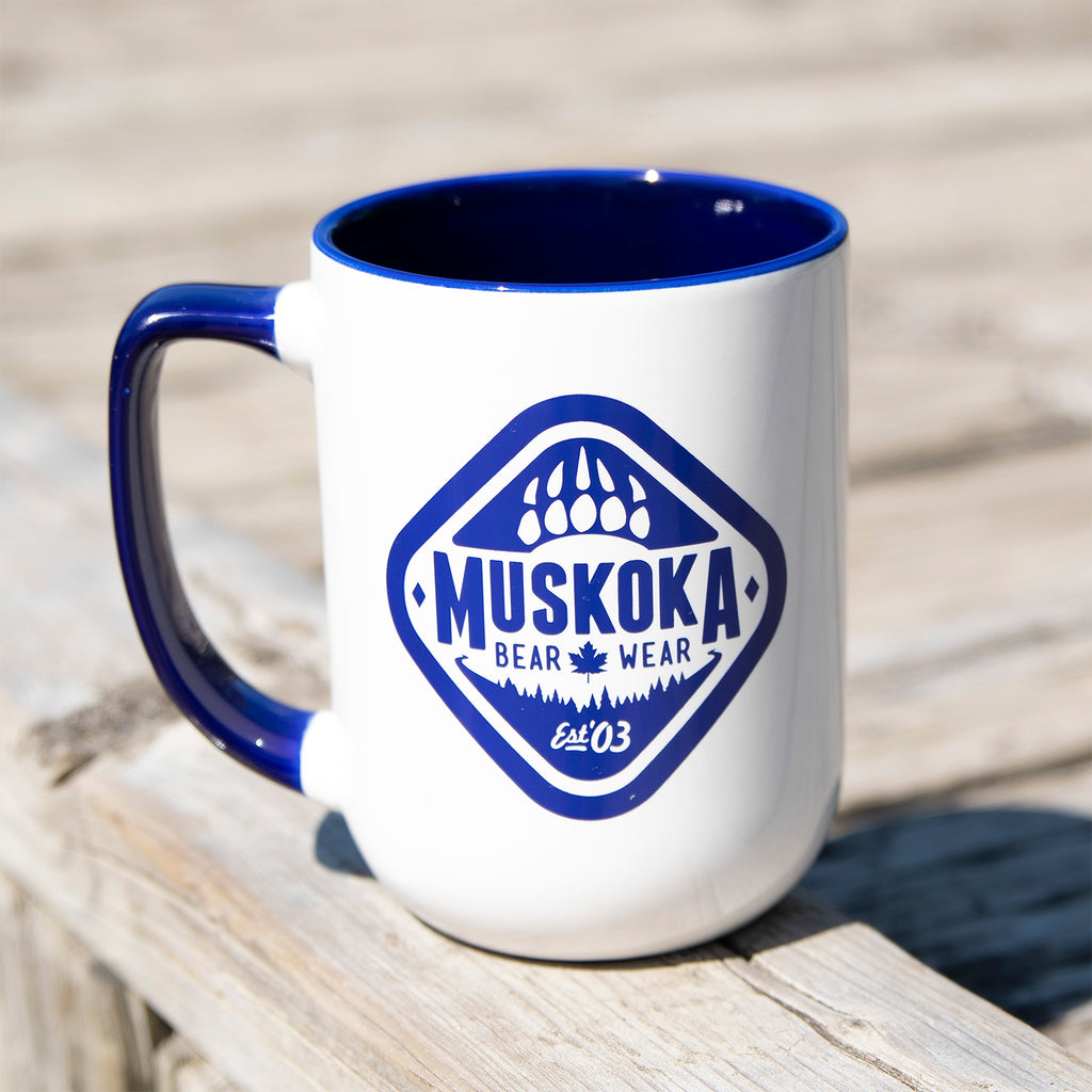 MBW Coffee Mug in White with Cobalt Blue Trim
