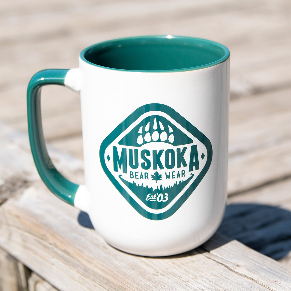 MBW Coffee Mug in White with Green Trim