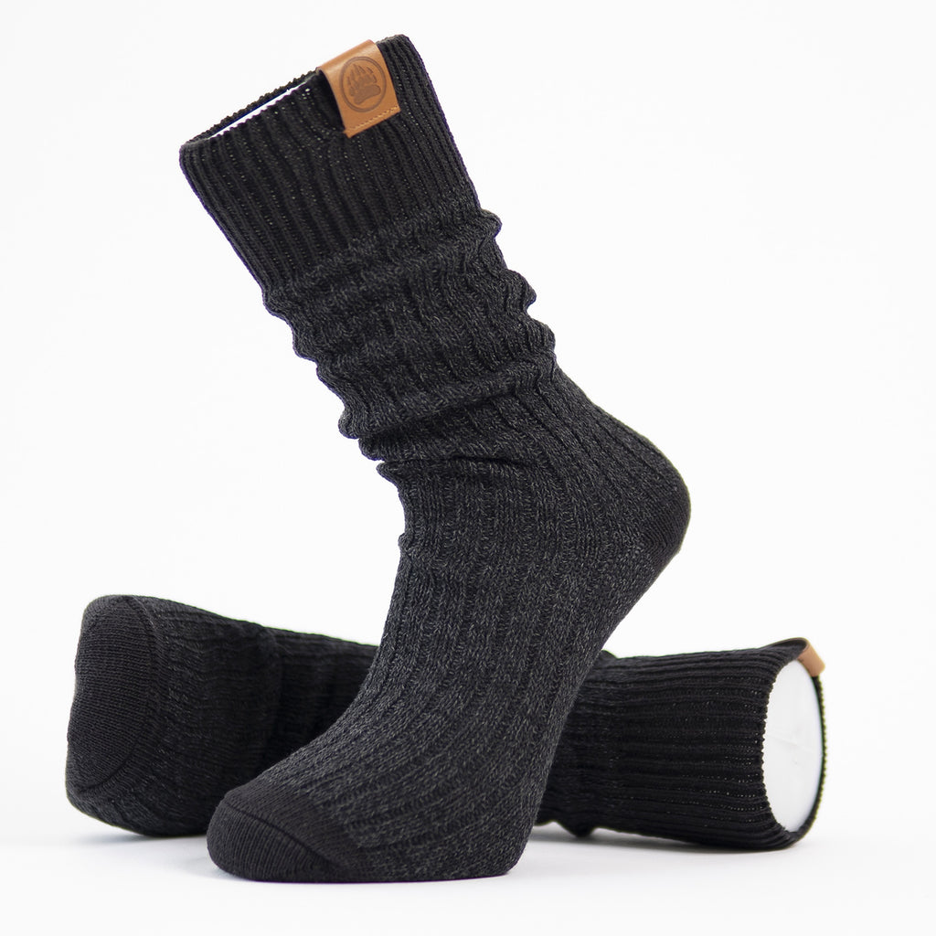 Muskoka Bear Wear - Men's Oxford Socks in Dark Charcoal with Black Band