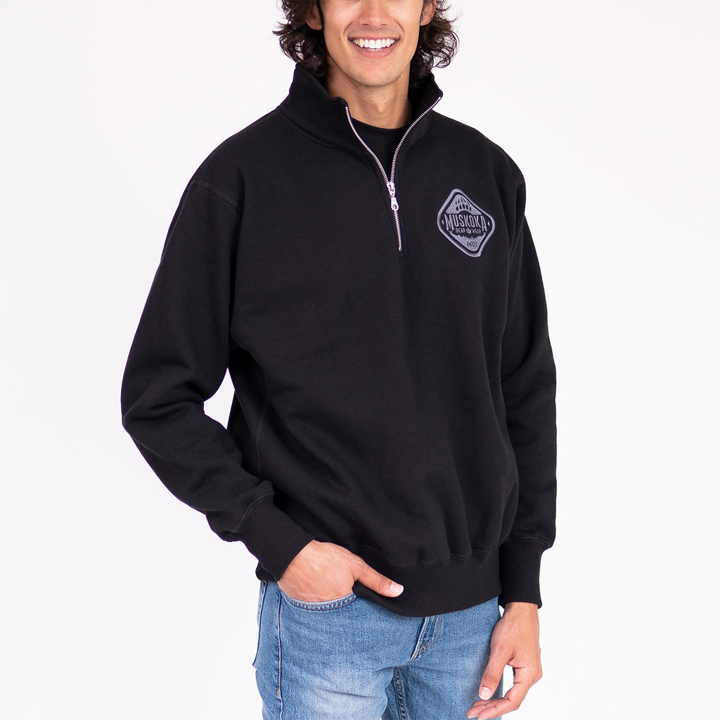 Muskoka Bear Wear – Men's Quarter-Zip in Black with Charcoal