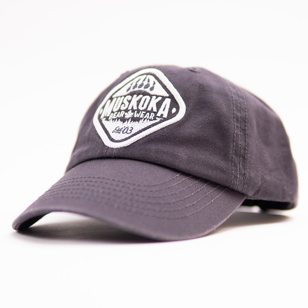 Muskoka Bear Wear – Youth Baseball Cap in Charcoal with White