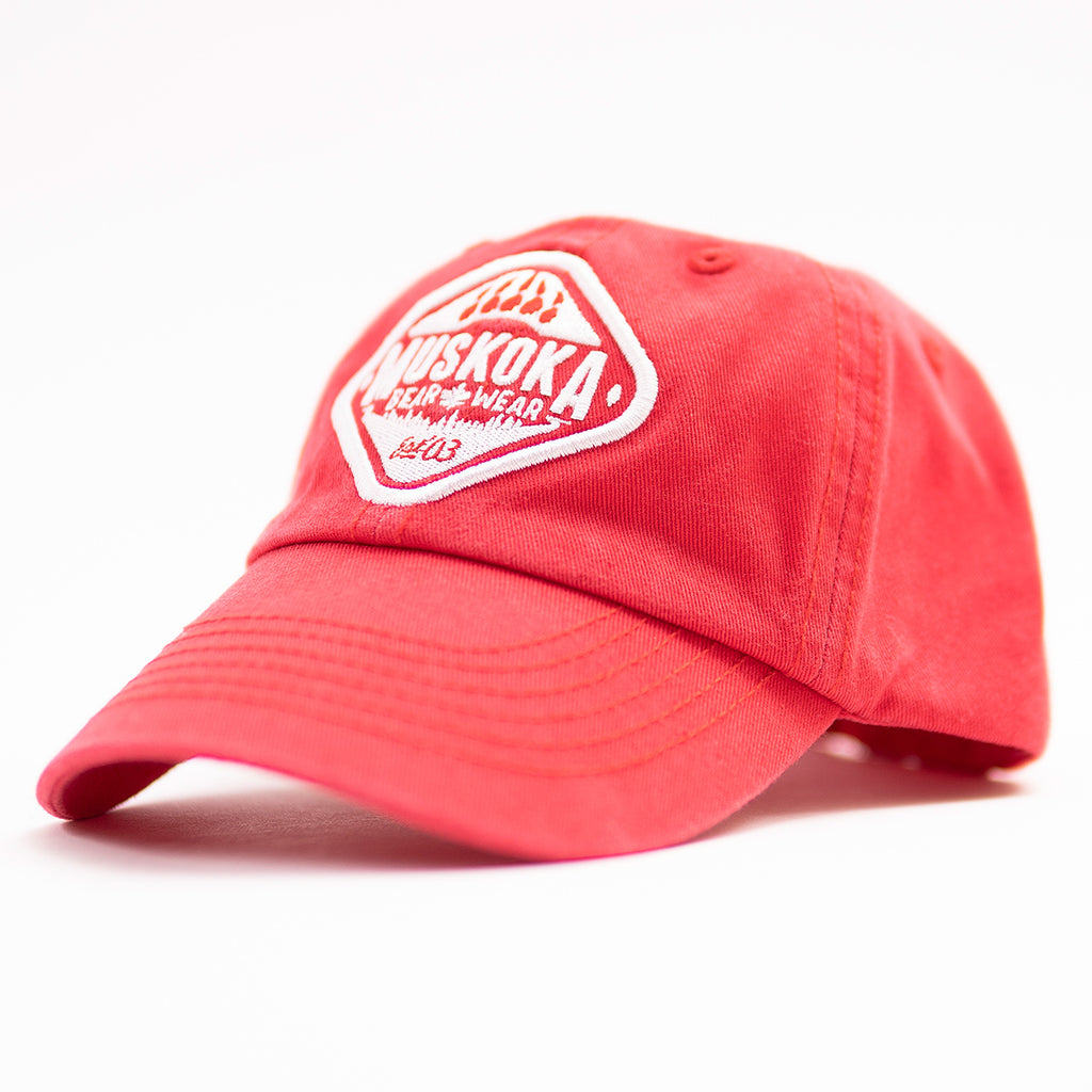 Muskoka Bear Wear – Youth Baseball Cap in Red with White