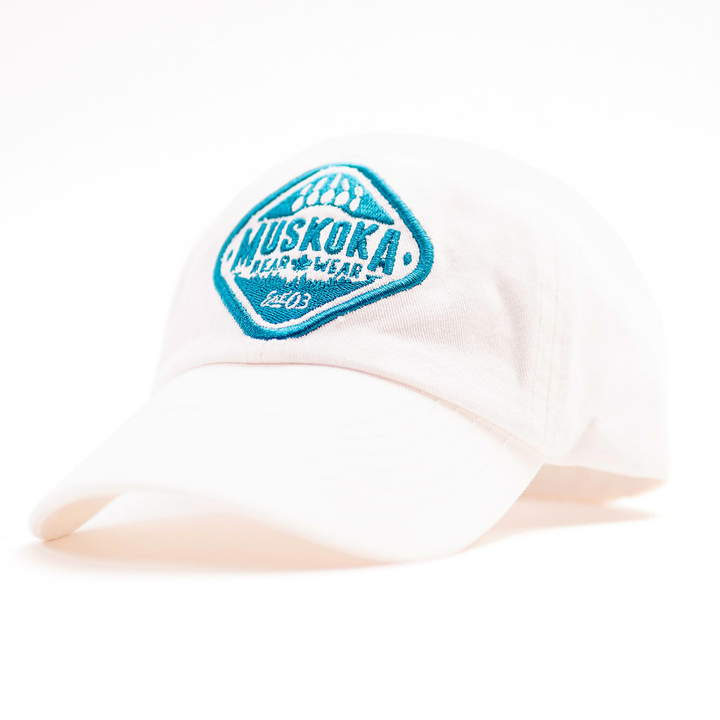Muskoka Bear Wear – Youth Baseball Cap in White with Teal