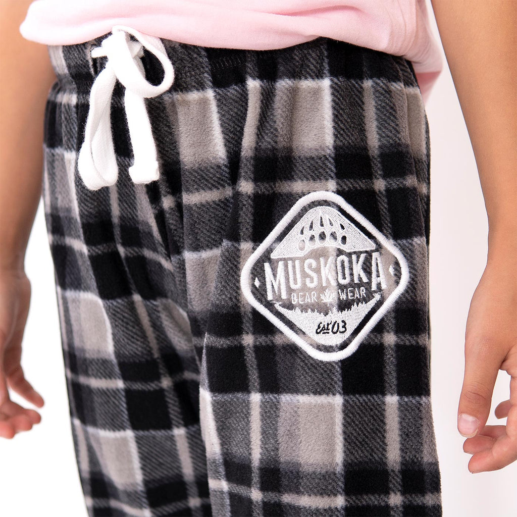 Muskoka Bear Wear – Youth Cottage Comfy Pants in Charcoal Plaid