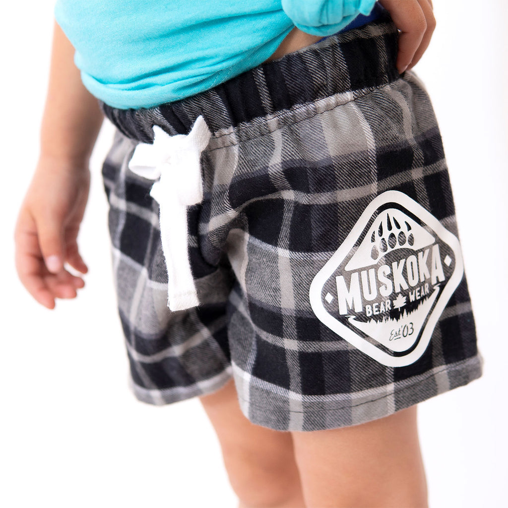 Muskoka Bear Wear – Youth Flannel Boxers in Charcoal Plaid
