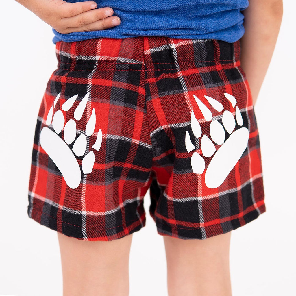 Muskoka Bear Wear – Youth Flannel Boxers in Red Plaid