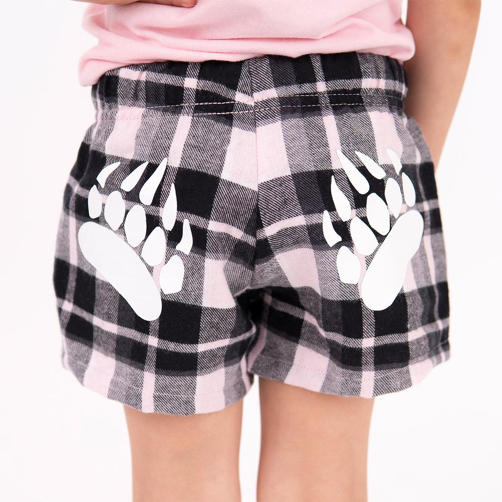 Muskoka Bear Wear – Youth Flannel Boxers in Soft Pink Plaid