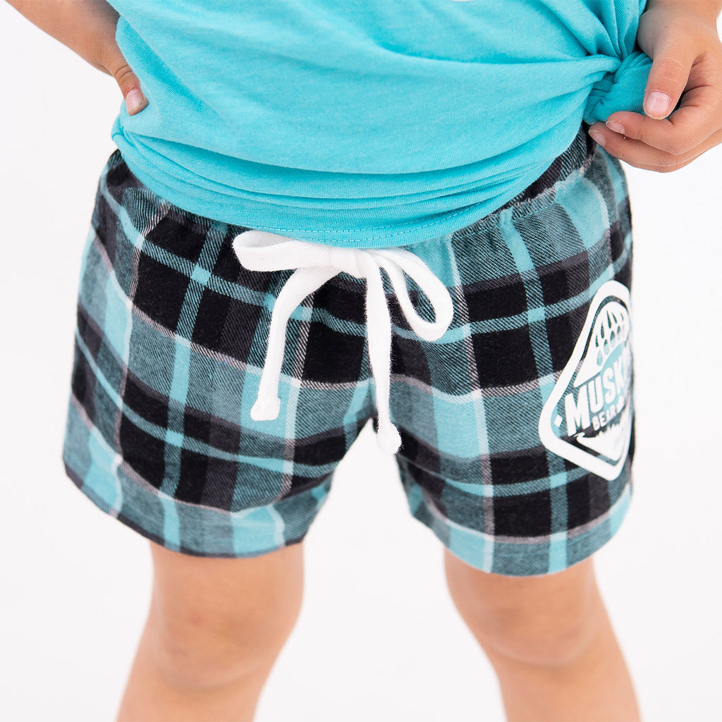 Muskoka Bear Wear – Youth Flannel Boxers in Teal Plaid