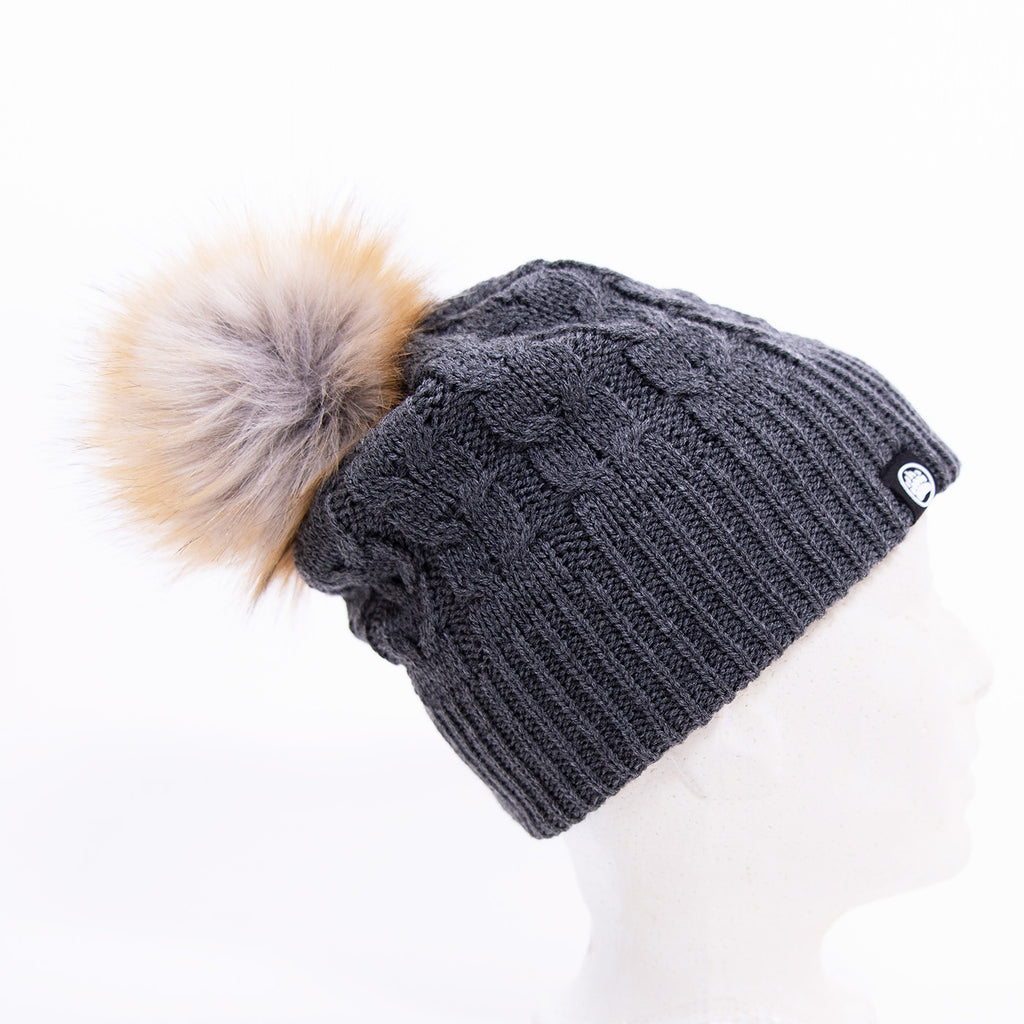 Muskoka Bear Wear – Charcoal Knit with Faux Fur Pom