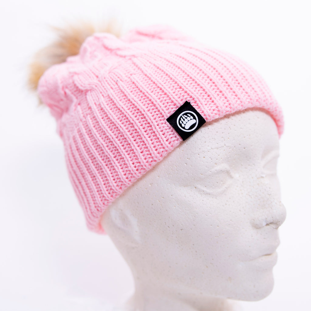 Muskoka Bear Wear – Pink Knit with Faux Fur Pom