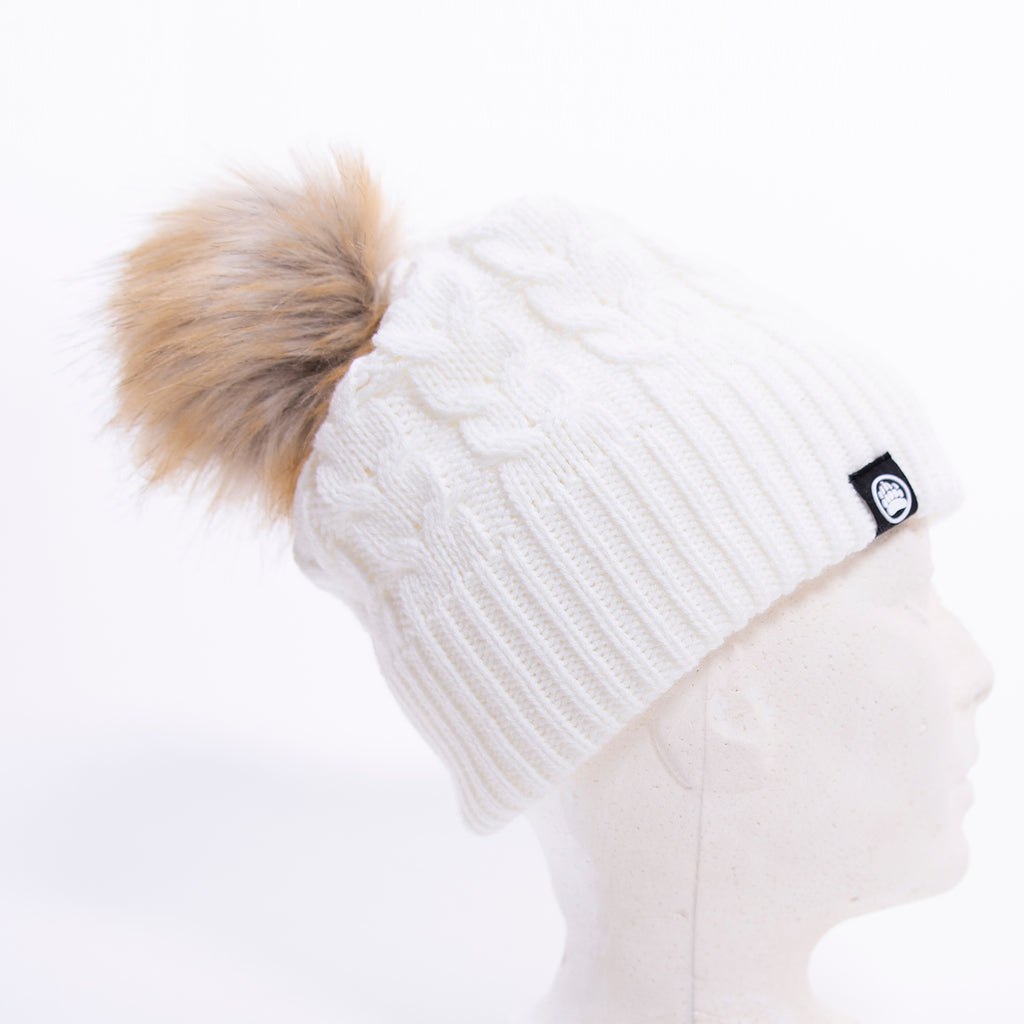 Muskoka Bear Wear – White Knit with Faux Fur Pom