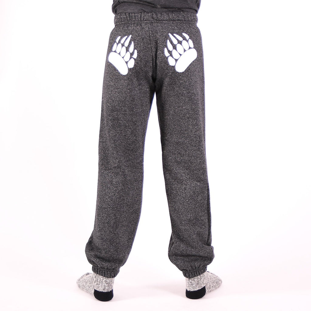 Muskoka Bear Wear – Youth Paw Pants in Heather Black with White