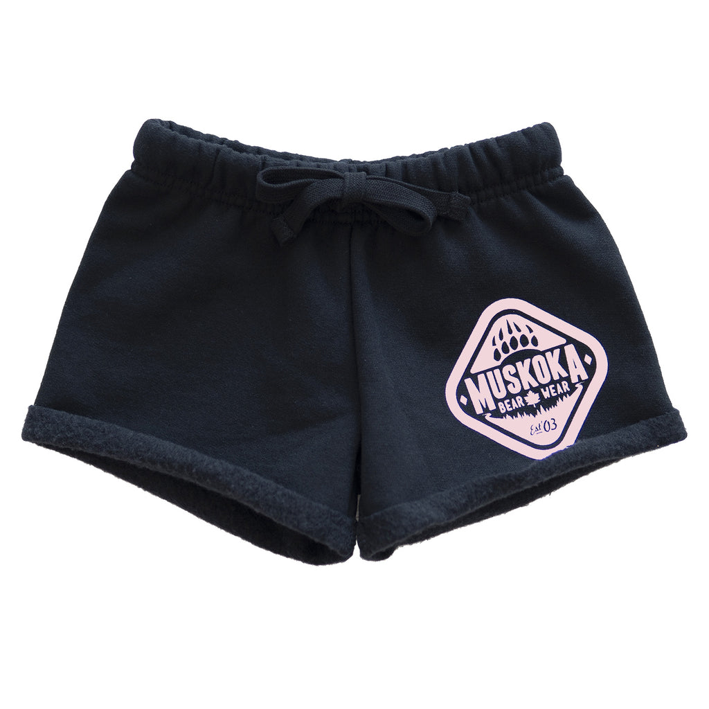 Muskoka Bear Wear - Youth Paw Shorts in Black with White