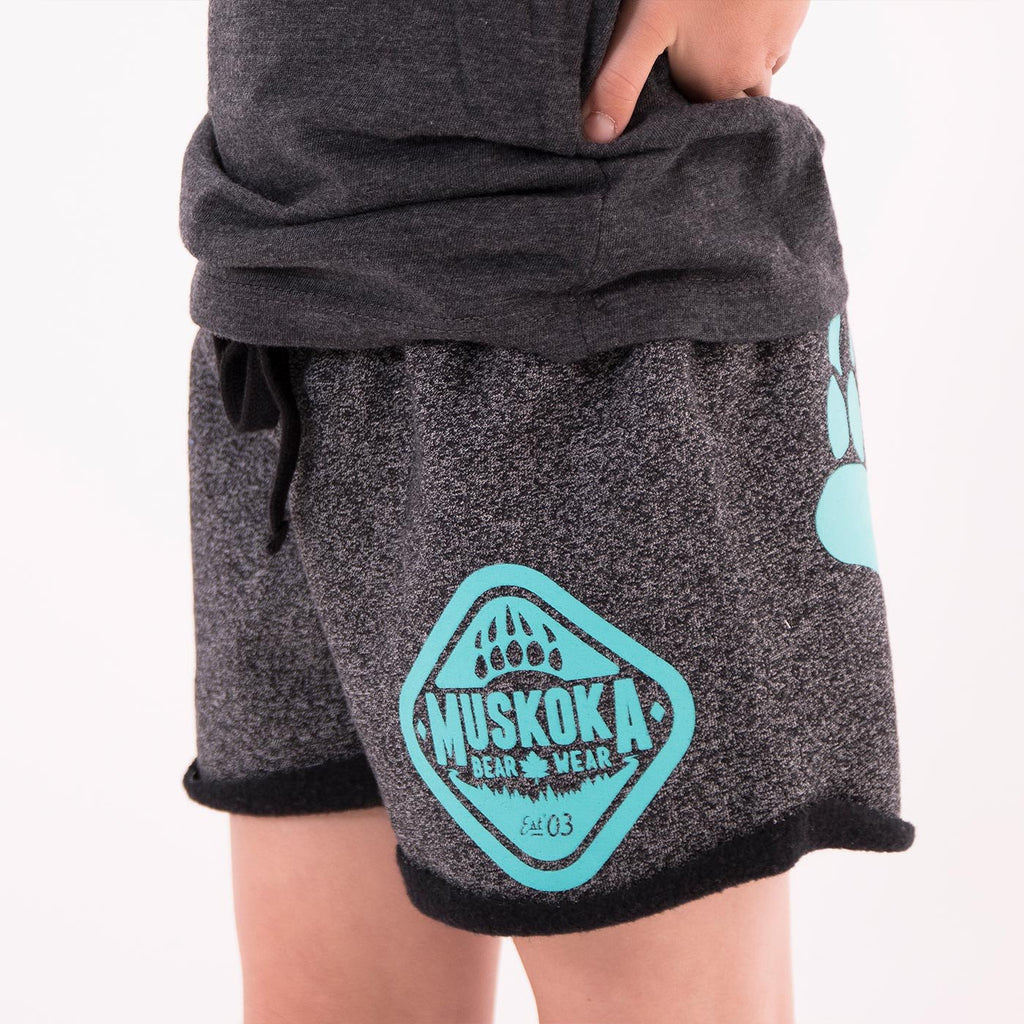 Youth Paw Shorts in Heather Black with Teal