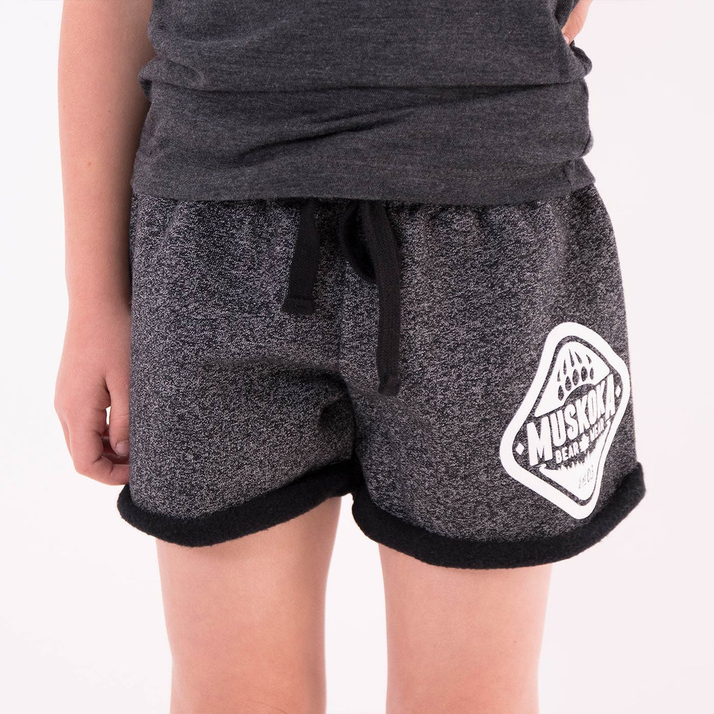 Muskoka Bear Wear - Youth Paw Shorts in Heather Black with White