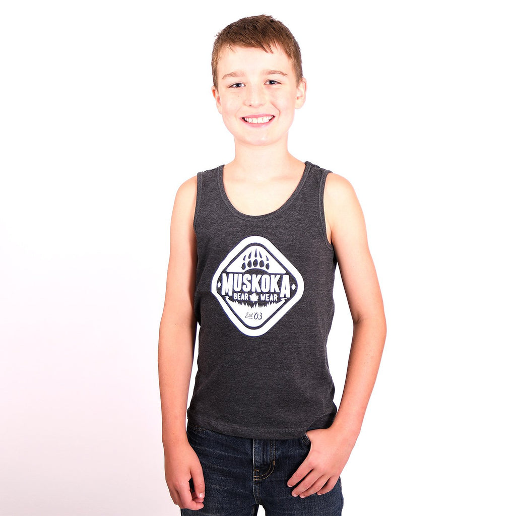 Youth Tank Top in Charcoal with White