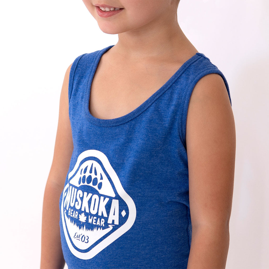Muskoka Bear Wear – Youth Tank Top in Royal Mix with White