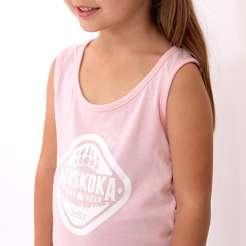Muskoka Bear Wear – Youth Tank Top in Soft White with White