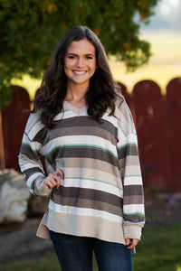 Taupe Striped Knit Top
