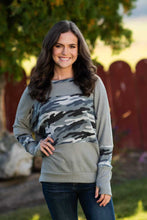 Grey Camo Thumb Hole Sweater