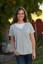 Grey Striped V-neck Tee