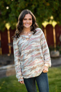 Cross Cross Mocha Blue Camo Sweater