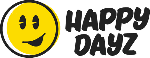 "Happy Dayz logo, a yellow happy face with the text "" Happy Dayz"" beside it."