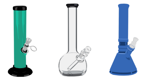 A comparison of 3 types of bongs/waterpipes. A straight tube made from acrylic, a round base made from glass, and a beaker base made from silicone