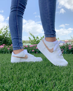 'Sparkle & Glow' Rose Gold Nike AF1 (Kids)