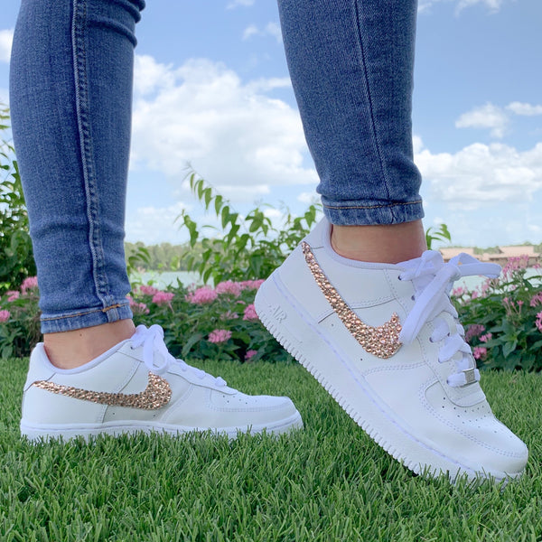 'Sparkle & Glow' Rose Gold Nike AF1 (Women's)