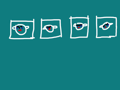 A digital tablet drawing on a blue-green background that places four faces within four small boxes. The faces and boxes are outlined in white, with the facial features in black and red.