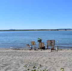 Photograph of a sandy beach along the Columbia River under clear blue skies. Looking toward the shore, there is an installation of artworks clustered in a circle by the waters edge, revealing the backside of three paintings, which are hanging from wooden stakes pounded into the beach sand. There is a 5 gallon hardware store bucket on the right hand side, which holds one of the wooden stakes. We can make out the face of one abstract painting, which is traversed by a diagonal line of blacks and brown from top right to bottom left. Above the dark diagonal are shades of blue and green. The paintings are far from the lens of the camera, and it's difficult to discern more details of the paintings.