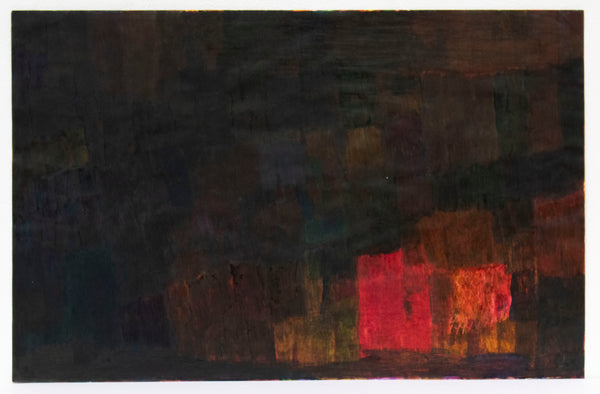 A tapestry of dark tones: silver, purple, and oranges quilted in darkness. Most of Charlie Gillespie's Untitled marker drawing is cloaked in darkness, while an abstract ember of warm tones glows in the bottom right corner, like flames in the night. It appears that there are rectangular patterns of vibrant color quilting the whole page, most of which have been obscured by a final layer of darkness.