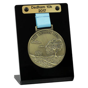 Single Medal Display shown with optional engraved plaque