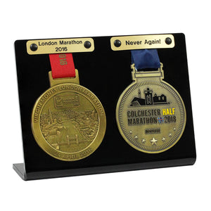 Double Medal Display shown with optional Engraved Plaques, available seperately.