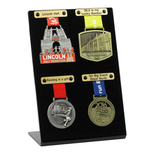 Medal Display for Four Medals- Shown with optional engraved plaques