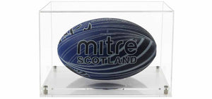 Acrylic Horizontal Rugby Ball Display Case- Choice of Bases
