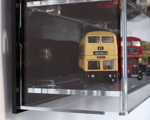 Side View of Wall Display Case for Model Buses