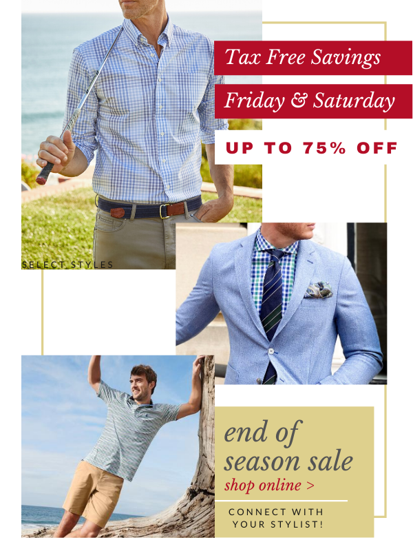 mens clothing tax free sale