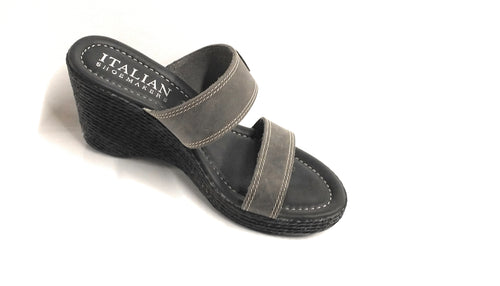 Women's Italian Shoemakers 5525s4 Gray Wedge Sandal