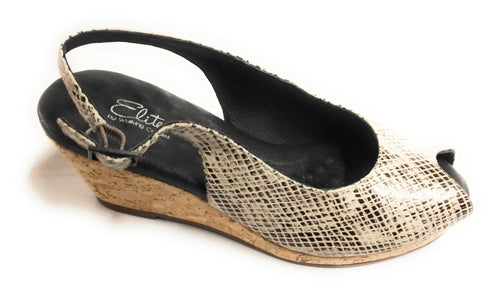 Women's Walking Cradles Amore Snake Black/White Sling Sandals