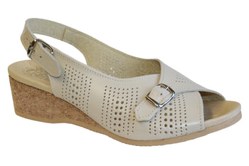 Women's Worishofer 562 Leather Slingback Wedge Sandal - Brandy`s shoes
