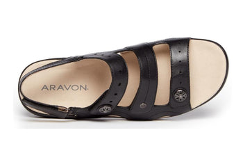 ARAVON POWER COMFORT 3 STRAP BLACK SANDAL