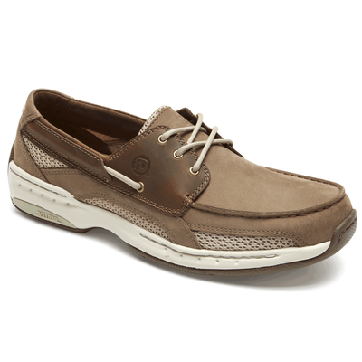 Men's CAPTAIN BOAT SHOE by Dunham Taupe - Brandy`s shoes