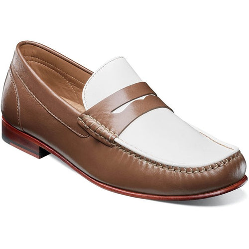 Men's Florsheim Beaufort Cognac/White Moc Toe Penny Loafer