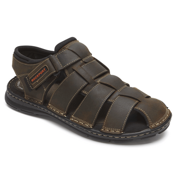Men's Rockport Darwyn Brown Leather Fisherman Sandals