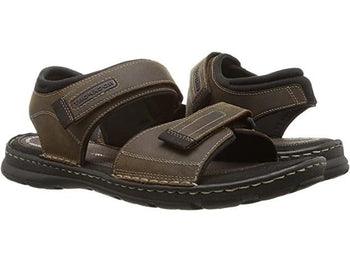 Men's Rockport Darwyn Quarter Strap Brown Leather Sandals