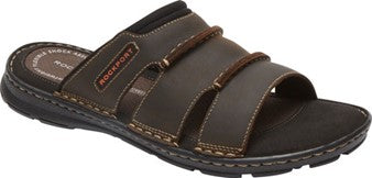 Men's Rockport Darwyn Brown Leather Slide Sandal