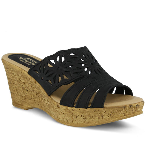 Women's Spring Step Dora Black Wedge Sandal
