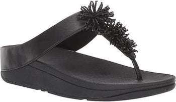 Women's FitFlop Fino Bead Pom-Pom Black Toe-Post Sandals